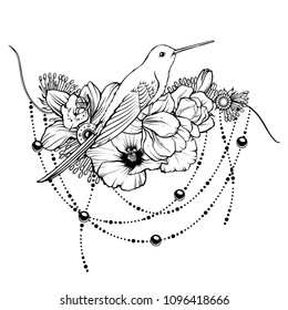 Floral magic symbolic art in boho style. Black and white vector Illustration. Composition with tropical exotic flowers and humming bird. Spirituality, alchemy, design element tattoo, invitation