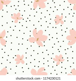Floral magnolia Small cute seamless pattern. Vector illustration.