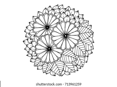 Floral mandala in black and white. For coloring or card design
