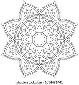 Floral mandala for coloring book