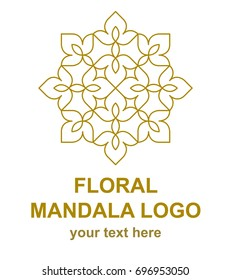 Floral mandala linear icon. Oriental style logo template. Logotype concept for a spa, beauty salon, or fashion boutique. Vector design element isolated on white background.