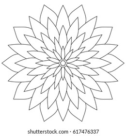 Floral mandala. Oriental round ornament decoration. Page coloring for adults.