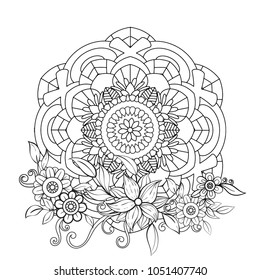 Floral mandala pattern in black and white. Adult coloring book page with flowers and mandalas. Oriental pattern, vintage decorative elements. . Hand drawn vector illustration
