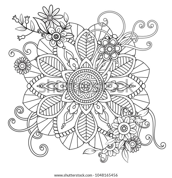 Fiori Mandala.Floral Mandala Pattern Black White Adult Stock Vector Royalty