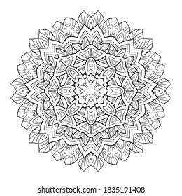 Floral mandala with small and middle patterns on a white isolated background. For coloring book pages.