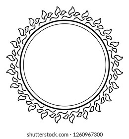 Floral mandala. Vector flat outline icon illustration isolated on white background.
