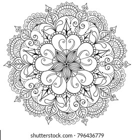 floral mandalaa stylized circular ornament. floral mandala. black-and-white drawing. coloring book for children and adults. page for artbook.