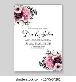 Floral maroon ranunculus pink peony wedding invitation or bridal shower card vector template peony anemone rose
