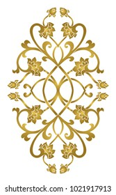 Floral medallion for design. Template for carpet, wallpaper, textile and any surface. Vector gold pattern on a white background.