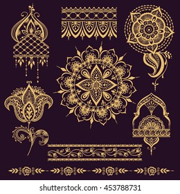 Floral mehendy pattern with paisley ornament