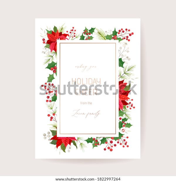 Floral Merry Christmas Poinsettia Flowers, New Year 2021 Card, Pine Wreath, Mistletoe, Holly Berry, Winter plants design illustration for greetings, invitation 2020, flyer, brochure, cover in vector