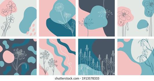 Banners florales mínimos. Flor silvestre de línea dibujada a mano y formas abstractas de blobs, planta de hierbas y pradera, plantilla floral moderna para publicaciones en medios sociales. Ilustración botánica vectorial colores azul rosado