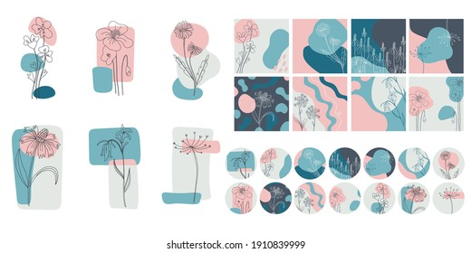 Floral minimal social media set. Hand drawn line wild flower and abstract blob shapes, modern floral template for posts, highlights covers and stories. Vector botanical illustration pink blue colors