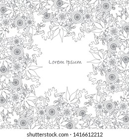 Floral monochrome background, Lorem Ipsum stock vector illustration for web, for print
