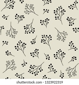 Floral monochrome seamless pattern. Vector background with berries