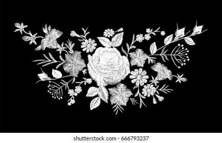 Floral monochrome white rose embroidery neckline arrangement. Vintage Victorian flower ornament fashion textile decoration. Stitch texture vector illustration art on black