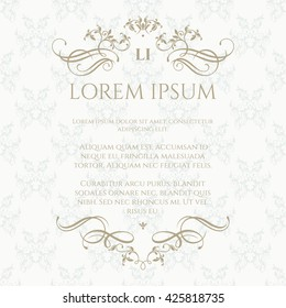 Floral monogram and  border with calligraphic elements. Classic pattern. Template for greeting cards, invitations, menus. Graphic design page.