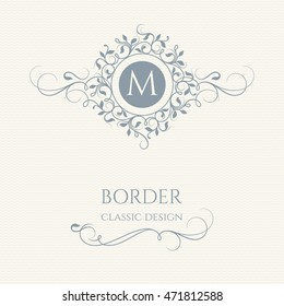 Floral monogram and border with calligraphic elements. Graphic design pages, business sign, boutiques, cafes, hotels. Classic design elements for wedding invitations.