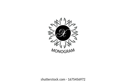 Floral monogram with letter X. Exquisite business logo, restaurant, royalty, boutique, cafe, hotel logo template.