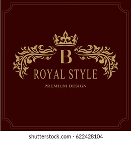 Floral Monogram luxury design, graceful template. Calligraphic elegant beautiful logo. Letter emblem sign B for Royalty, Restaurant, Boutique, Hotel, Heraldic, Jewelry. Vector illustration