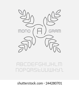 Floral monogram, simple and graceful design template. Elegant lineart logo design, including the full original font. Vector logotype.
