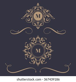 Floral monograms and borders  for cards, invitations, menus, labels. Graphic design pages, business sign, boutiques, cafes, hotels. Classic design elements for wedding invitations.