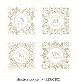 Floral monograms for cards, invitations, menus, labels. Graphic design pages, business sign, boutiques, cafes, hotels. Classic design elements for wedding invitations.