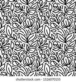 Floral monoline seamless pattern background, textile printing. Hand drawn endless vector illustration of flowers on light background. Flower theme. Summer collection