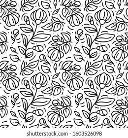 Floral monoline seamless pattern background, textile printing. Hand drawn endless vector illustration of flowers on light background. Flower theme. Summer collection.