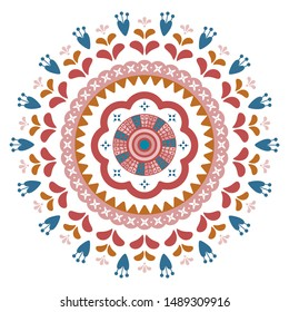 Floral motif autumn season mandala. Abstract folk decorative element illustration