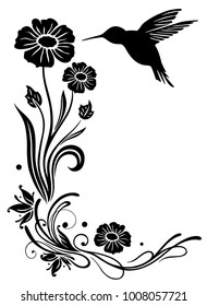 Floral motif with flowers and hummingbird.
