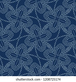 Floral Motif Sashiko Style Japanese Needlework Seamless Vector Pattern. Hand Stitch Indigo Blue Line Texture for Textile Print, Classic Japan Decor, Asian Backdrop or Simple Kimono Quilting Template.