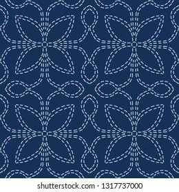 Floral Motif Sashiko Style Japanese Needlework Seamless Vector Pattern. Hand Stitch Indigo Blue Line Texture for Textile Print, Classic Japan Decor, Asian Backdrop or Simple Kimono Quilting Template
