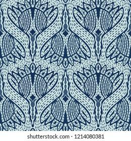 Floral Motif Sashiko StyleJapanese Needlework Seamless Vector Pattern. Hand Stitch Indigo Blue Batik Texture for Textile Print, Japan Decor, Embroidery Backdrop, Ethnic Indonesia Fashion Print Fabric.