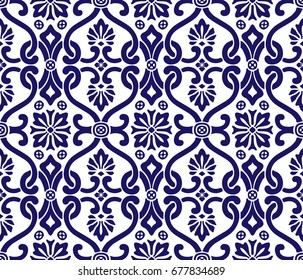 Floral motif. Seamless tile pattern, vector