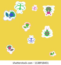 Floral motifs,butterflies, lady bugs,  dotted lines, labels pattern . Hand drawn.
