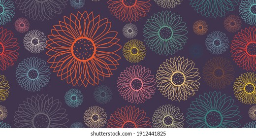 Floral multi-colored contour on a light background seamless pattern. Trendy illustrated vector drawing for corporate identity, stationery, packaging and wallpaper. Minimalistic floral background. Flor