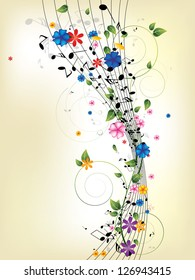 Floral musical background with notes