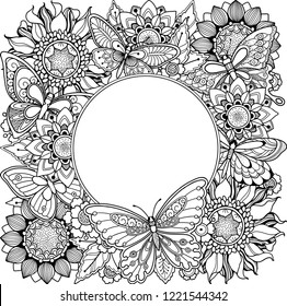 Floral nature frame in doodle style. Ornate, decorative, tribal, decor, flowers, butterflies. Black and white background. Zentangle coloring book page