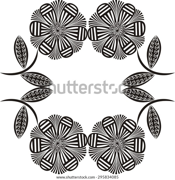 floral nature pattern frame black white stock vector royalty free 295834085 shutterstock