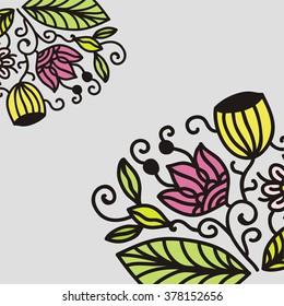 Floral nature pattern frame vector illustration