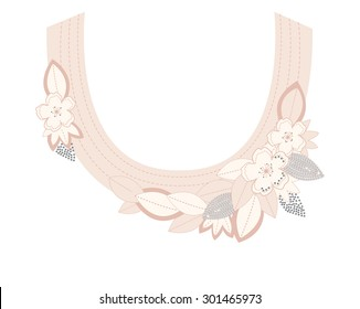 Floral neck embroidery with applique, in vector.