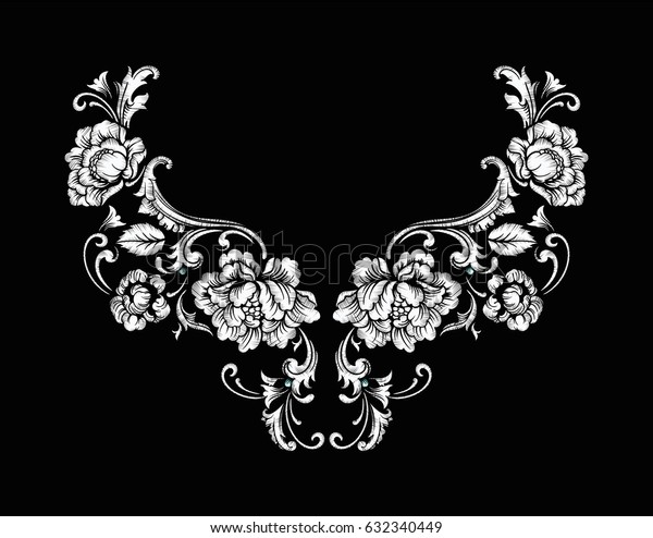 Floral neck embroidery design in Baroque Style. Independent composition with flowers and leaves. Vector Vector illustration.