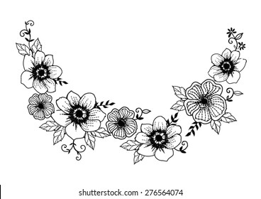 Floral neck embroidery in vector.