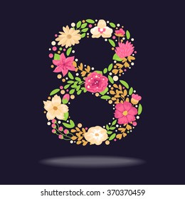 Floral number (8). Vector isolated illustration on dark background