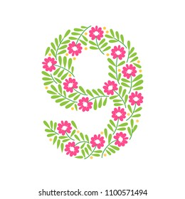 Floral number. Coloful clear modern illustration. Vector isolated illustration on white background. Illustration for t-shirts, posters, card and other uses.