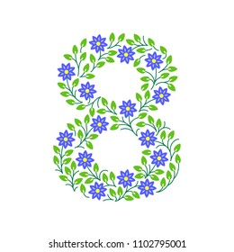 Floral number. Colorful clear modern illustration. Vector isolated illustration on white background. Illustration for t-shirts, posters, card and other uses.