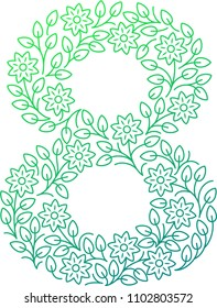 Floral number eight. Line clear modern illustration. Vector isolated illustration on white background. Illustration for t-shirts, posters, card and other uses.