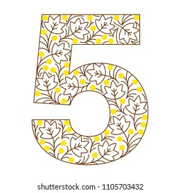 Floral number. Line clear modern illustration. Vector isolated illustration on white background. Illustration for t-shirts, posters, card and other uses.