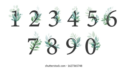 Floral number set with greenery decoration. Elegant digits 0, 1, 2, 3, 4, 6, 7, 8, 9, 0 with botanic leaves for wedding invitation and card design composition. Vector elements
